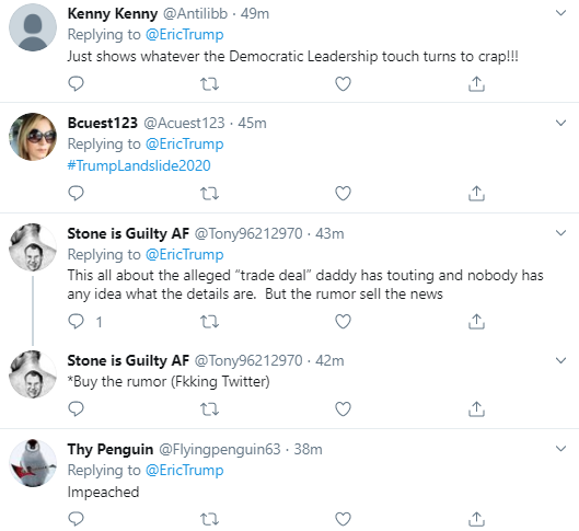 eic22 Eric Trump Tweets During Impeachment Vote & Instantly Regrets It Corruption Donald Trump Economy Impeachment Politics Social Media Top Stories