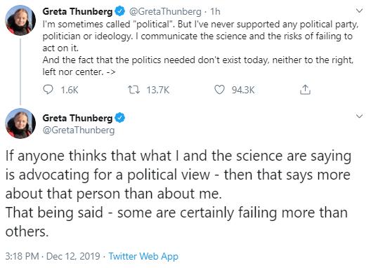 greta2 Greta Thunberg Tweets New Anti-Trump Response Statement Donald Trump Environment Politics Social Media Top Stories