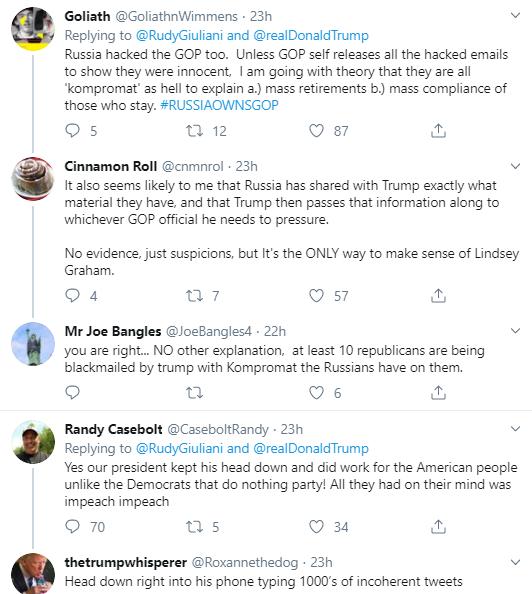 rg10 Giuliani Comes Unglued During Impeachment Hearing With Multi-Tweet Freakout Corruption Donald Trump Impeachment Politics Social Media Top Stories