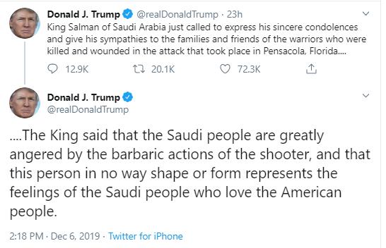 trump-saudi-tweet Ex-Intel Slam Trump For Sucking Up To Saudis After Navy Shooting Corruption Donald Trump National Security Politics Social Media Top Stories