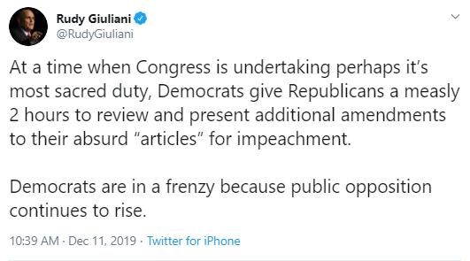 u2 Giuliani Comes Unglued During Impeachment Hearing With Multi-Tweet Freakout Corruption Donald Trump Impeachment Politics Social Media Top Stories
