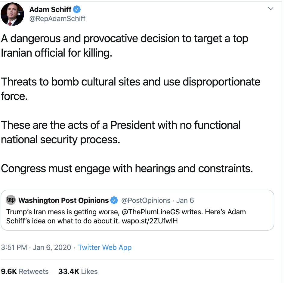 Screen-Shot-2020-01-08-at-8.49.05-AM Schiff Upstages Trump With Instantly Viral Twitter Trolling Donald Trump Featured Mental Illness Military Top Stories