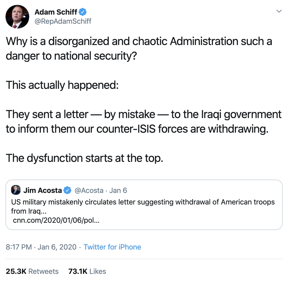 Screen-Shot-2020-01-08-at-8.51.37-AM Schiff Upstages Trump With Instantly Viral Twitter Trolling Donald Trump Featured Mental Illness Military Top Stories
