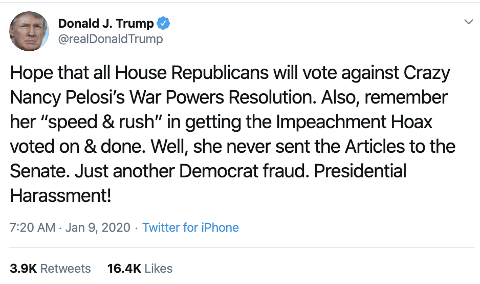 Screen-Shot-2020-01-09-at-7.34.58-AM Trump Rebuked Hard After Going Off On Twitter Thursday Morning Donald Trump Featured Impeachment Politics Top Stories