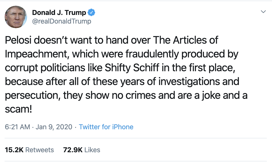 Screen-Shot-2020-01-09-at-8.09.55-AM Trump Claims Pelosi's Articles of Impeachment Not Valid Corruption Crime Featured Impeachment Top Stories