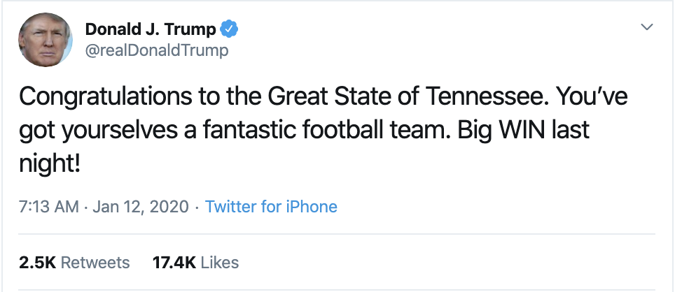Screen-Shot-2020-01-12-at-7.33.50-AM Trump Spazzes Into Sunday Morning Multi-Tweet Conniption Fit Election 2020 Featured Politics Sports Top Stories
