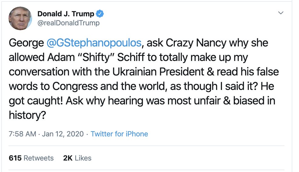 Screen-Shot-2020-01-12-at-8.00.19-AM Trump Spazzes Into Sunday Morning Multi-Tweet Conniption Fit Election 2020 Featured Politics Sports Top Stories