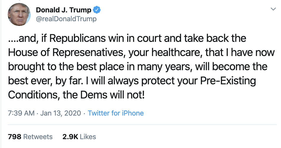 Screen-Shot-2020-01-13-at-7.44.01-AM Trump Takes Credit For Obamacare In Monday AM Twitter Whine Election 2020 Featured Healthcare Politics Top Stories