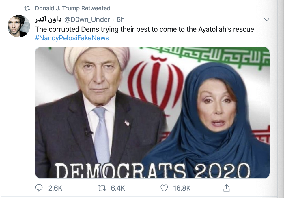 Screen-Shot-2020-01-13-at-9.24.12-AM People Flip Out After Trump Tweets Racist Anti-Muslim Meme Election 2020 Featured Impeachment Religion Top Stories