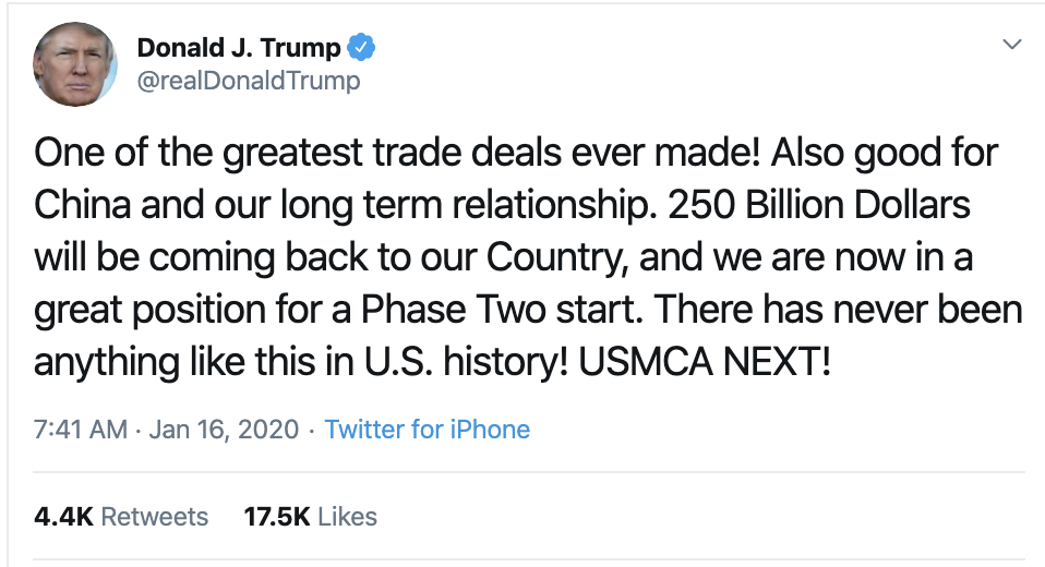 Screen-Shot-2020-01-16-at-7.54.23-AM Trump Unravels Into Thursday Morning Twitter Spasm Domestic Policy Economy Featured Foreign Policy Top Stories