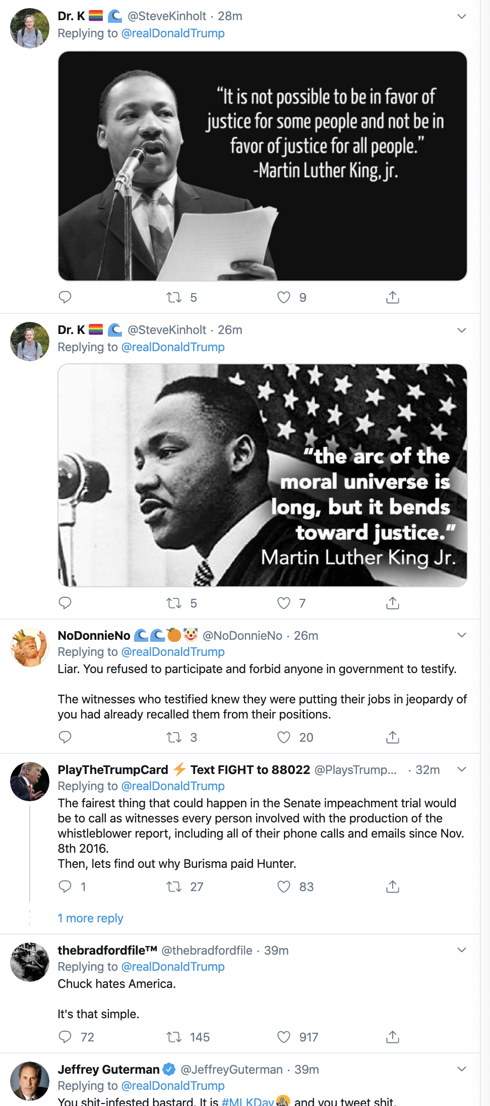 Screen-Shot-2020-01-20-at-10.32.48-AM Trump's MLK Day Tweet Embarrasses Republican Party Corruption Featured Impeachment Racism Top Stories