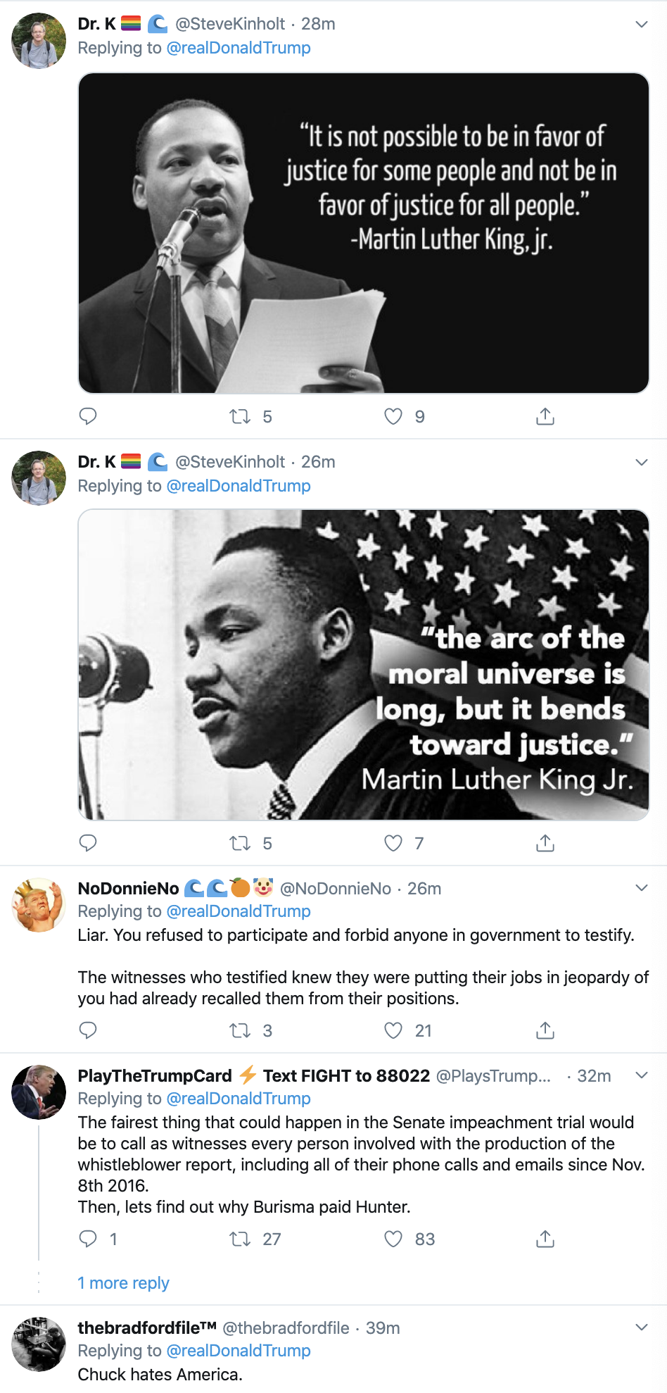 Screen-Shot-2020-01-20-at-10.33.56-AM Trump's MLK Day Tweet Embarrasses Republican Party Corruption Featured Impeachment Racism Top Stories