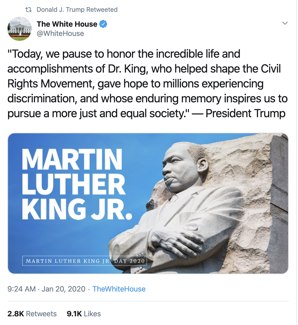 Screen-Shot-2020-01-20-at-10.39.22-AM Trump's MLK Day Tweet Embarrasses Republican Party Corruption Featured Impeachment Racism Top Stories