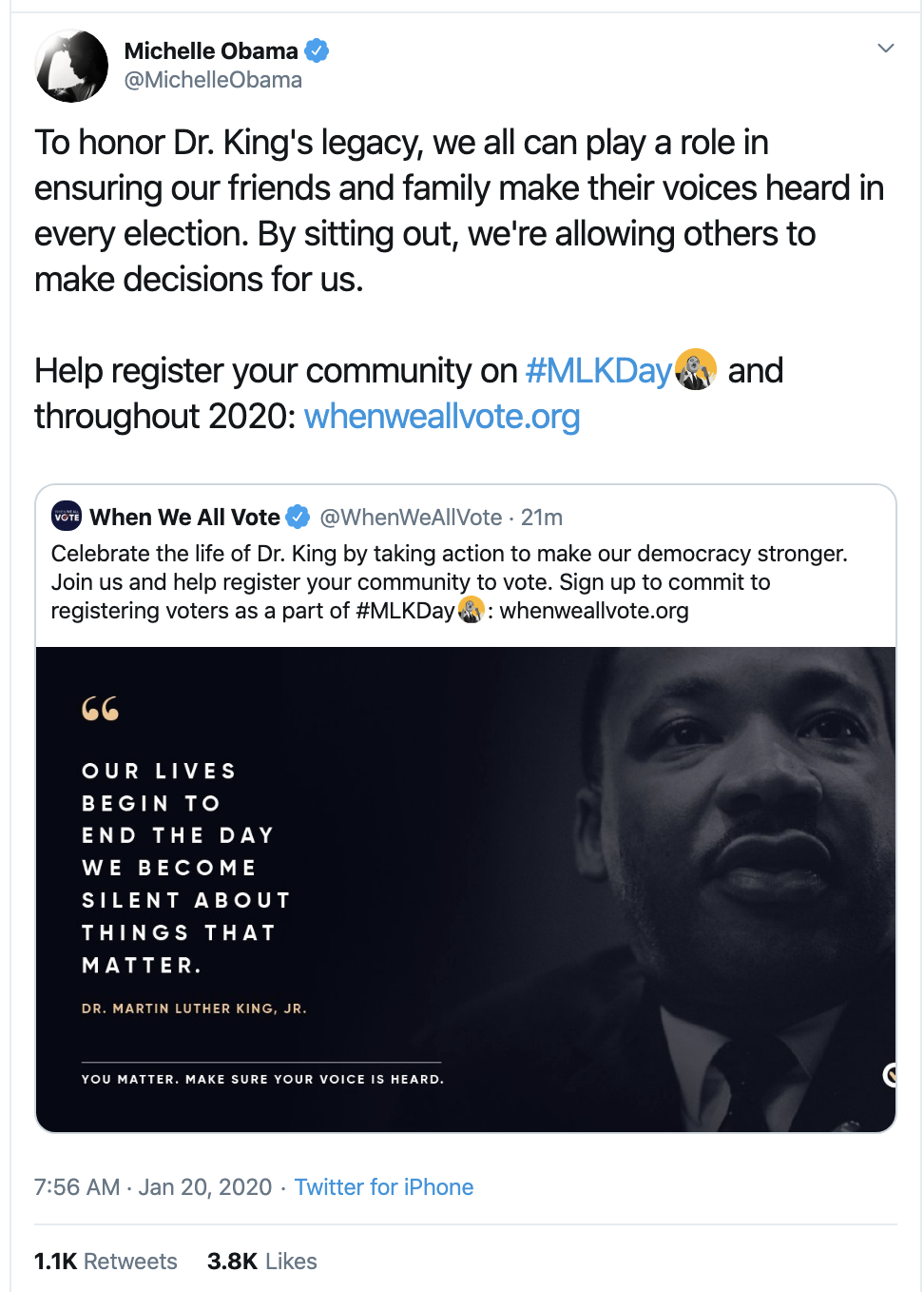 Screen-Shot-2020-01-20-at-8.12.10-AM Michelle Obama's MLK Day Message Goes Instantly Viral Black Lives Matter Featured Human Rights Racism Top Stories
