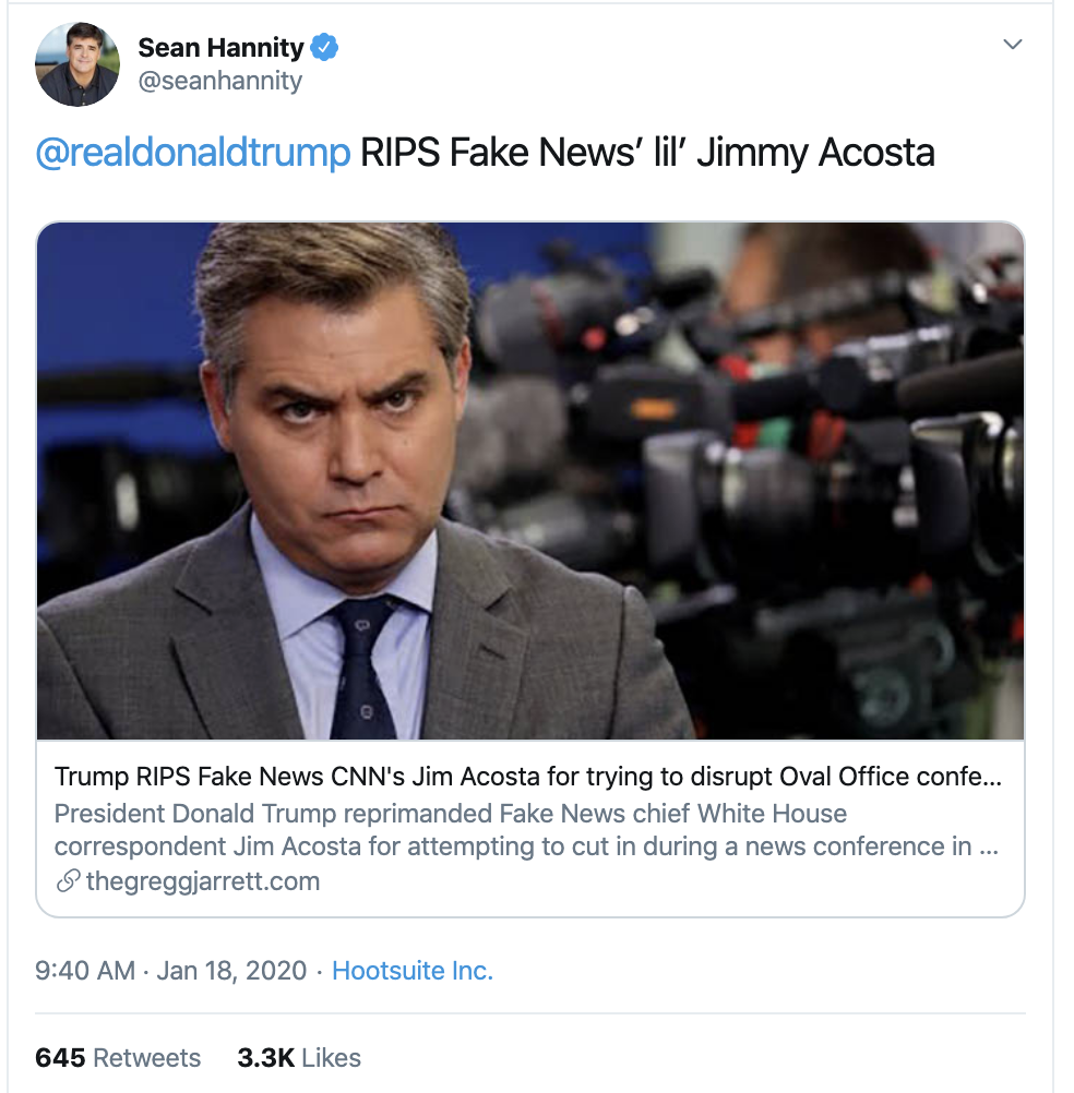 Screen-Shot-2020-01-20-at-9.28.11-AM Acosta Publicly Embarrasses Hannity & Goes Viral Fast Corruption Election 2020 Featured Media Top Stories