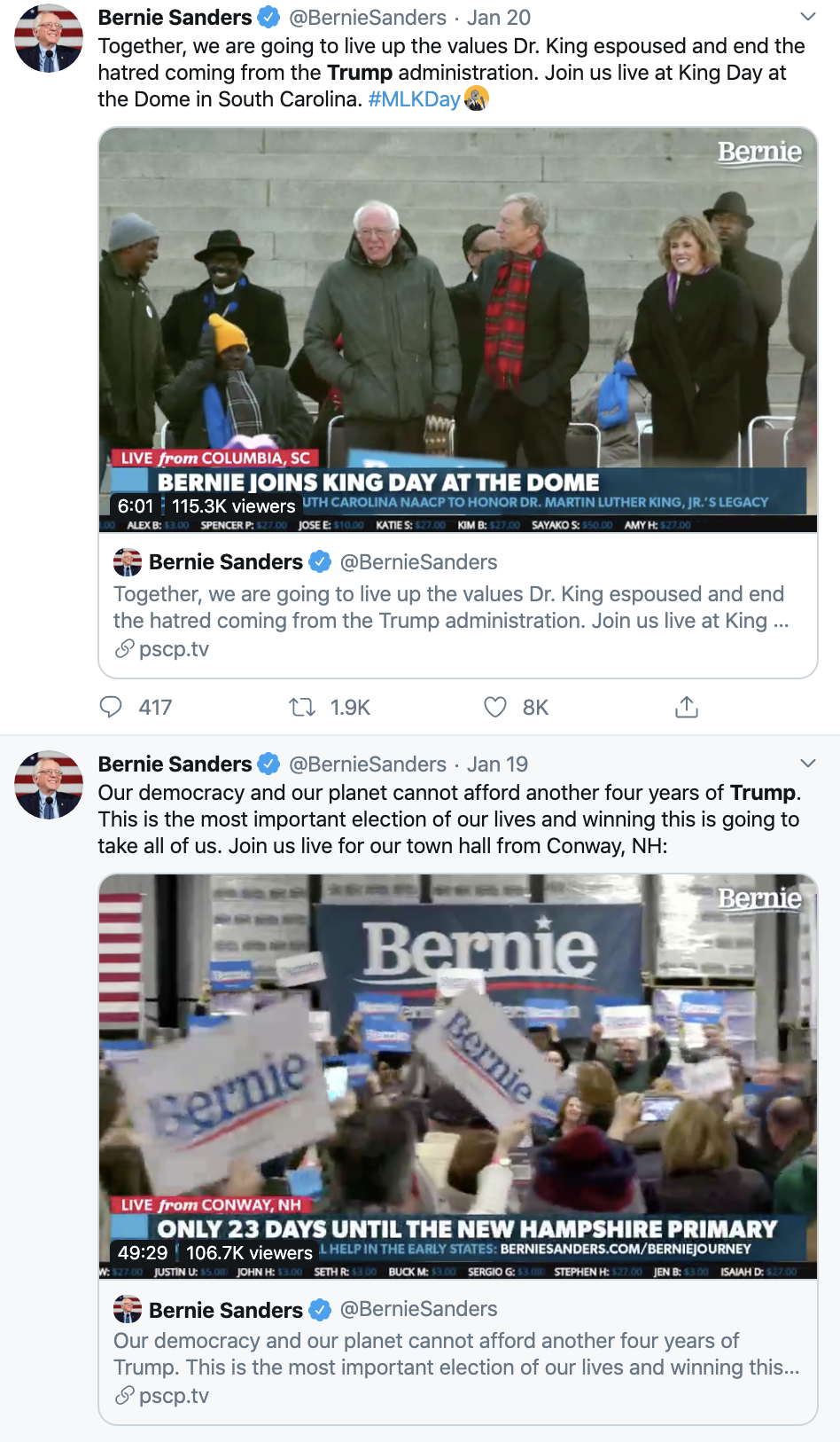 Screen-Shot-2020-01-21-at-1.18.55-PM Bernie Responds To Unprovoked Hillary Attack Like A Comedian Election 2016 Election 2020 Featured Hillary Clinton Top Stories
