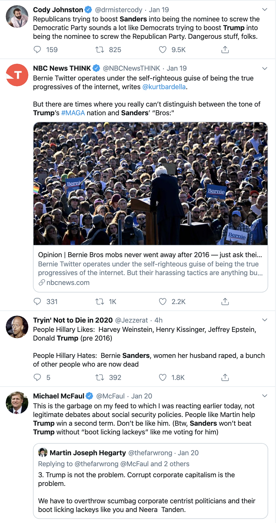 Screen-Shot-2020-01-21-at-1.19.16-PM Bernie Responds To Unprovoked Hillary Attack Like A Comedian Election 2016 Election 2020 Featured Hillary Clinton Top Stories