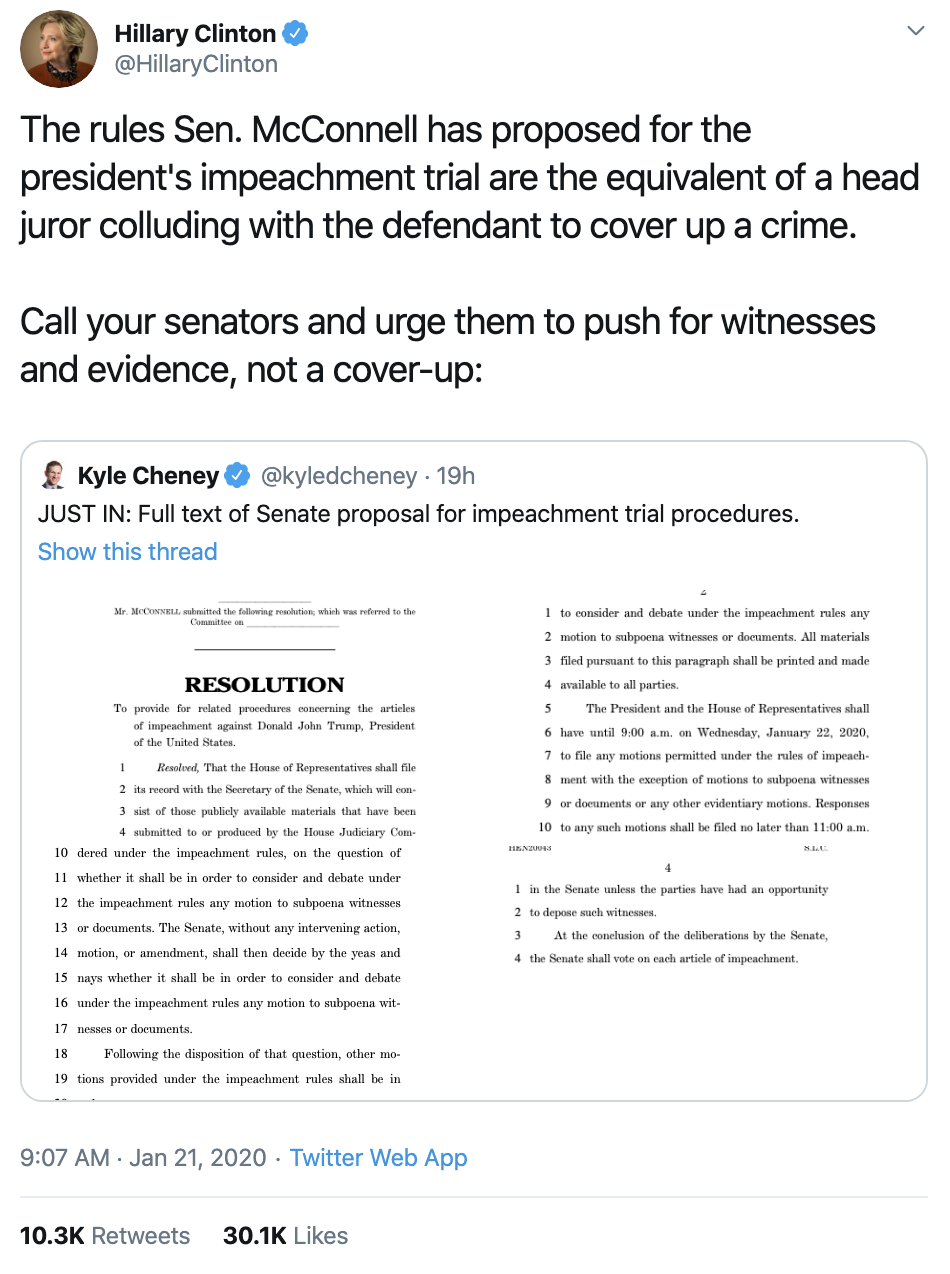 Screen-Shot-2020-01-21-at-12.09.59-PM Hillary Speaks Out About McConnell's Obstruction Corruption Crime Featured Impeachment Top Stories