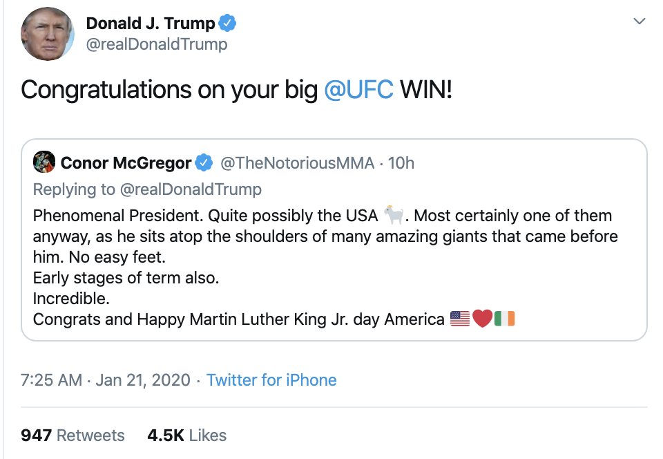 Screen-Shot-2020-01-21-at-7.28.58-AM Trump Tweets Message To Racist UFC Fighter Conor McGregor Celebrities Donald Trump Economy Featured Sports Top Stories