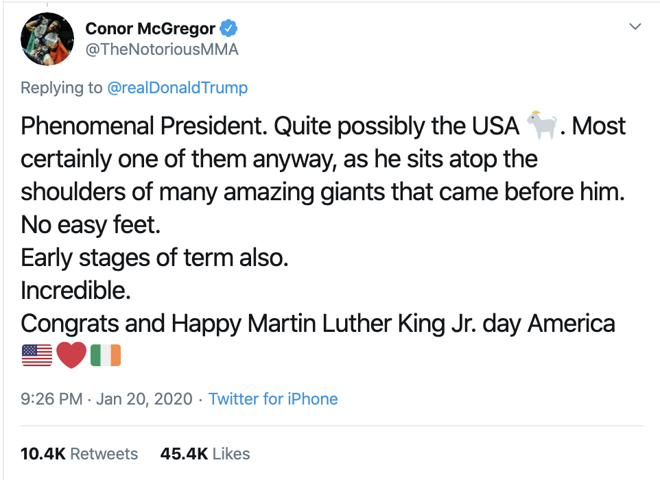 Screen-Shot-2020-01-21-at-7.37.20-AM Trump Tweets Message To Racist UFC Fighter Conor McGregor Celebrities Donald Trump Economy Featured Sports Top Stories