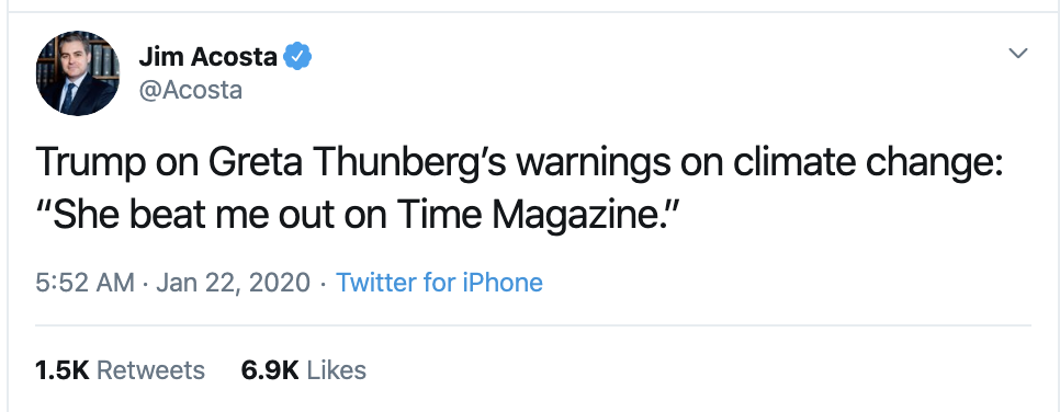 Screen-Shot-2020-01-22-at-9.30.37-AM Acosta Follows Trump In Switzerland & Publicly Trolls Him Hard Featured Impeachment Media Top Stories Twitter