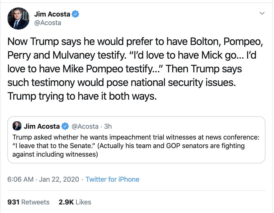 Screen-Shot-2020-01-22-at-9.33.32-AM Acosta Follows Trump In Switzerland & Publicly Trolls Him Hard Featured Impeachment Media Top Stories Twitter
