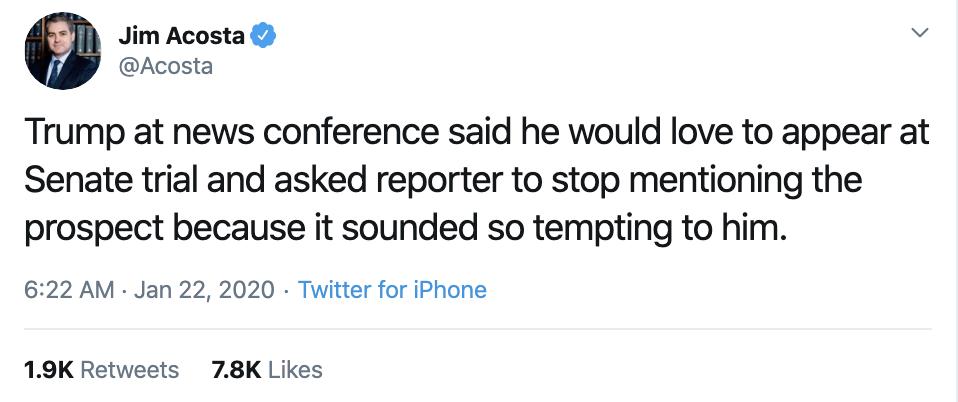 Screen-Shot-2020-01-22-at-9.35.36-AM Acosta Follows Trump In Switzerland & Publicly Trolls Him Hard Featured Impeachment Media Top Stories Twitter