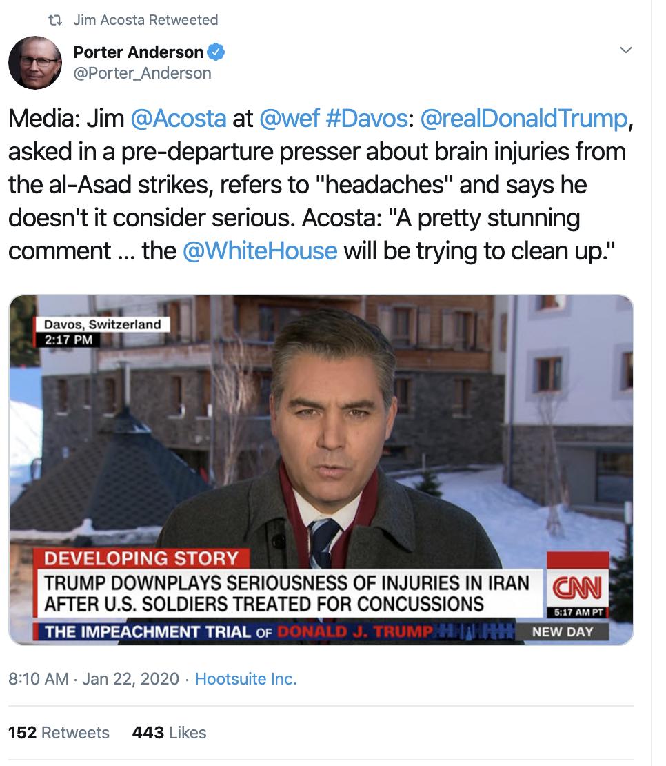 Screen-Shot-2020-01-22-at-9.36.44-AM Acosta Follows Trump In Switzerland & Publicly Trolls Him Hard Featured Impeachment Media Top Stories Twitter