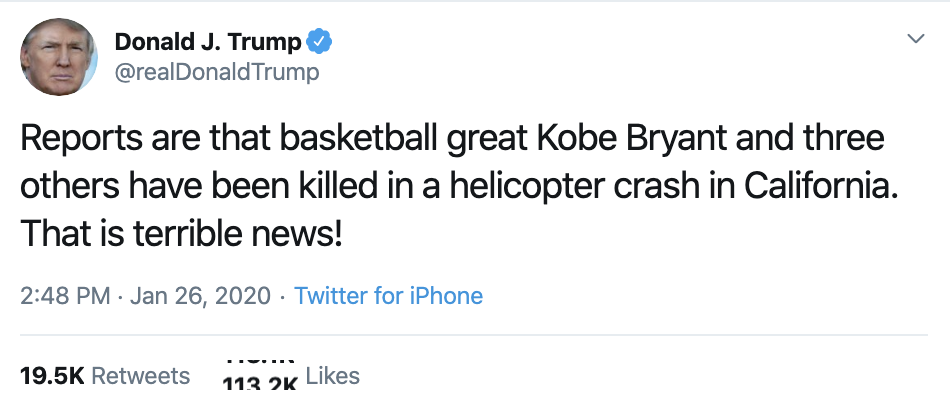 Screen-Shot-2020-01-26-at-3.56.19-PM Trump's Flubbed Tweet About Kobe Bryant Goes Horribly Wrong Featured Military Sports Top Stories War
