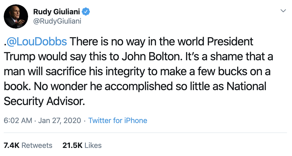 Screen-Shot-2020-01-27-at-11.01.21-AM Rudy Giuliani Goes Full Stupid Over Bolton Revelations Corruption Featured Impeachment Politics Top Stories