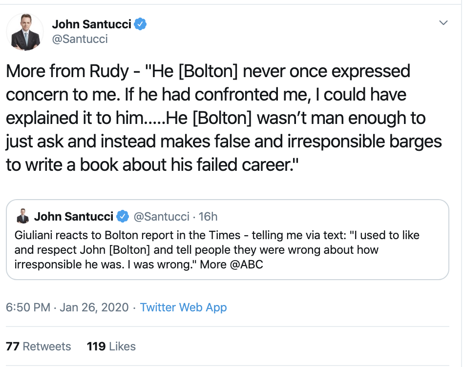 Screen-Shot-2020-01-27-at-11.40.09-AM Rudy Giuliani Goes Full Stupid Over Bolton Revelations Corruption Featured Impeachment Politics Top Stories
