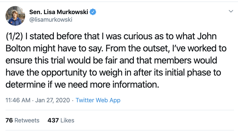 Screen-Shot-2020-01-27-at-3.43.00-PM Trump Livid After Murkowski Responds To Bolton Disclosure Corruption Featured Impeachment Politics Top Stories