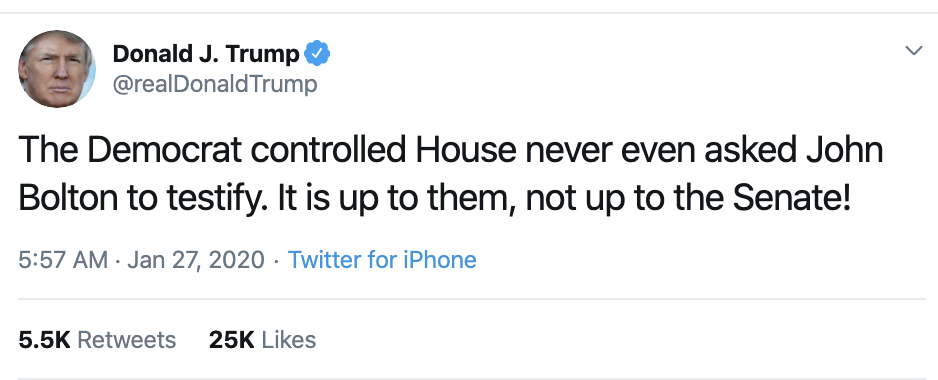 Screen-Shot-2020-01-27-at-6.55.46-AM Trump Blatantly Lies About Bolton In Monday AM Spiral Election 2020 Featured Impeachment Politics Top Stories