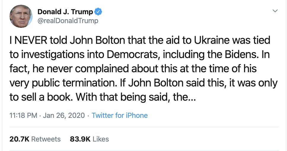 Screen-Shot-2020-01-27-at-9.50.58-AM Trump Calls Bolton A Liar In Bizarre Twitter Meltdown Corruption Featured Impeachment Politics Top Stories