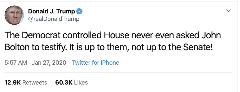Screen-Shot-2020-01-27-at-9.52.17-AM Trump Calls Bolton A Liar In Bizarre Twitter Meltdown Corruption Featured Impeachment Politics Top Stories