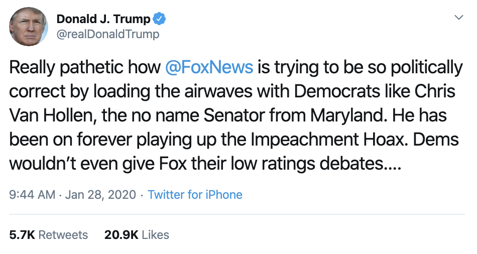Screen-Shot-2020-01-28-at-10.27.28-AM Trump Explodes On Fox News During Tuesday Tweet-Storm Corruption Featured Impeachment Politics Top Stories