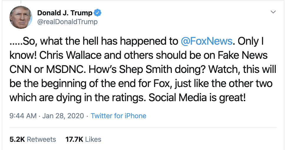 Screen-Shot-2020-01-28-at-10.31.11-AM Trump Explodes On Fox News During Tuesday Tweet-Storm Corruption Featured Impeachment Politics Top Stories