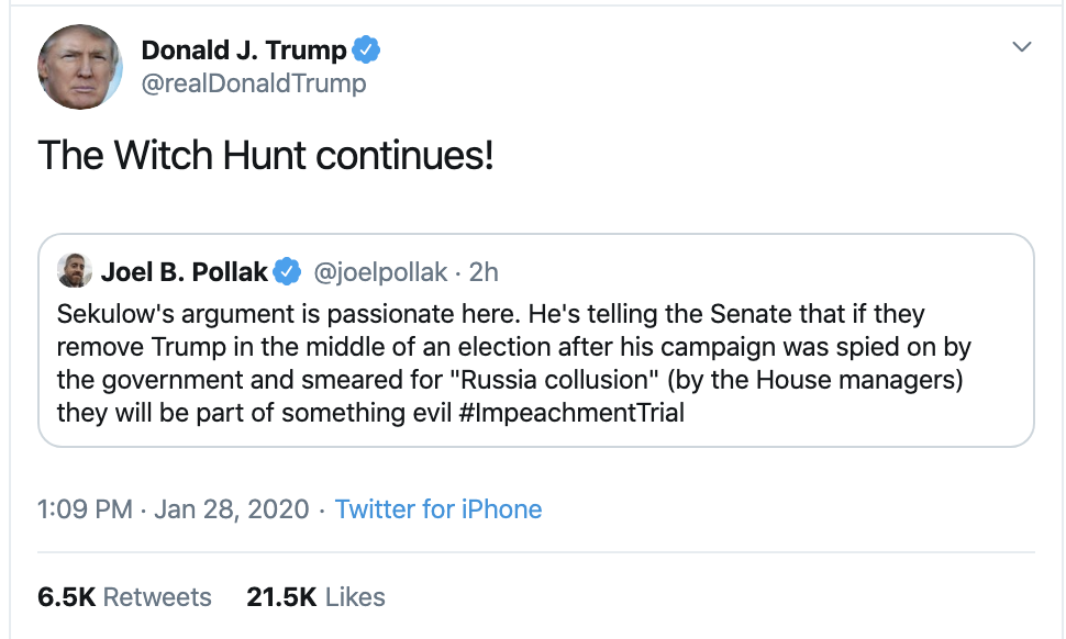 Screen-Shot-2020-01-28-at-2.58.04-PM Trump Goes Full Phony On Twitter Tuesday Afternoon Corruption Election 2020 Featured Impeachment Top Stories