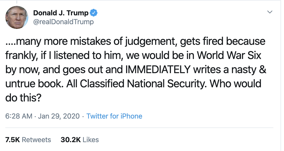 Screen-Shot-2020-01-29-at-8.12.32-AM Trump Just Attacked Witness John Bolton On Twitter Corruption Crime Featured Impeachment Top Stories