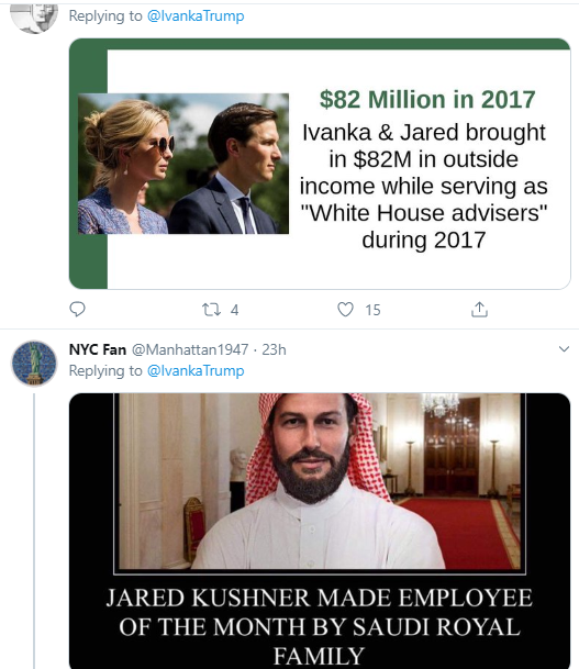 ivanka16 Ivanka Publicly Tweets To Jared & Immediately Regrets It Corruption Donald Trump Politics Social Media Top Stories