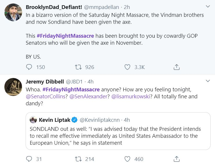 MadKing5 #FridayNightMassacre Trends As Mad Trump Takes His Revenge Donald Trump Featured Impeachment Top Stories Twitter