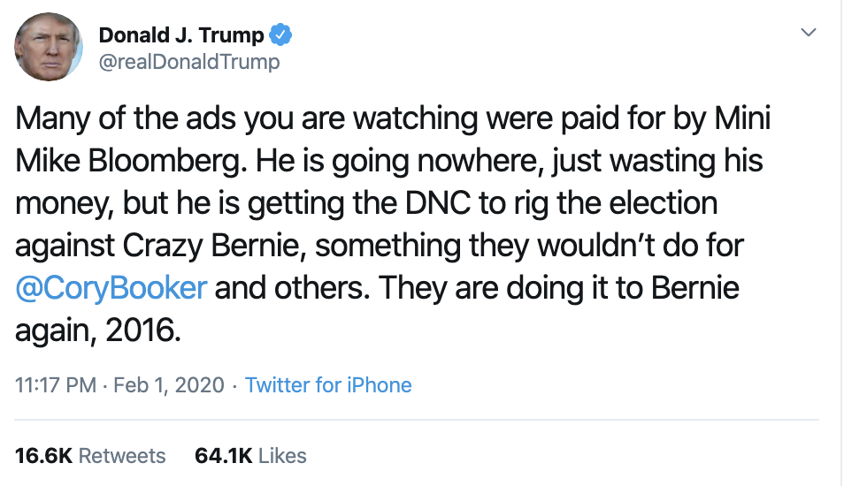 Screen-Shot-2020-02-02-at-10.20.06-AM Bloomberg Responds To Trump's Twitter Tantrum Like A Boss Election 2020 Featured Politics Top Stories