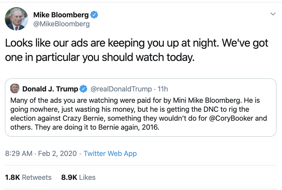 Screen-Shot-2020-02-02-at-10.25.11-AM Bloomberg Responds To Trump's Twitter Tantrum Like A Boss Election 2020 Featured Politics Top Stories