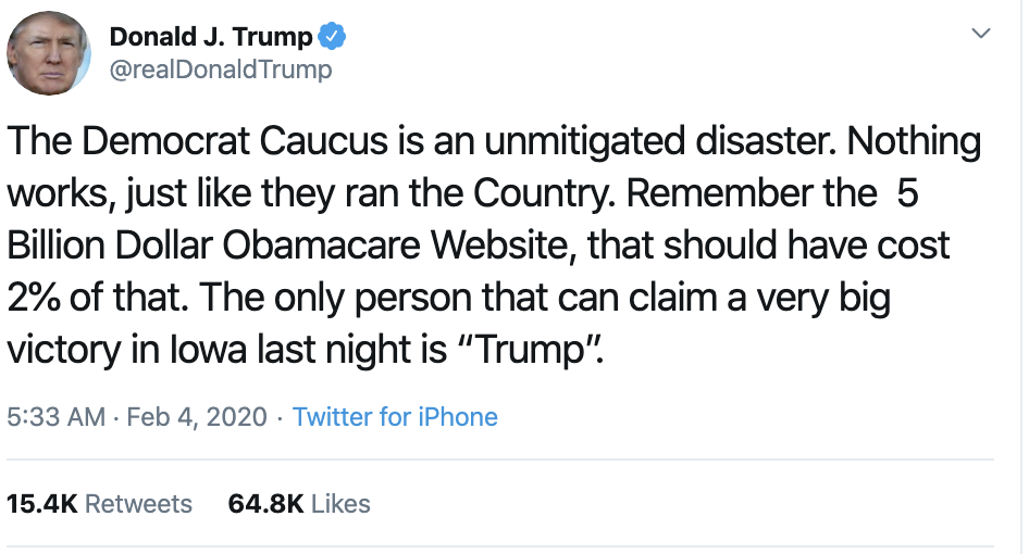 Screen-Shot-2020-02-04-at-7.13.49-AM Scared Trump Rage-Tweets About Iowa Caucus Results Donald Trump Election 2020 Featured Politics Top Stories