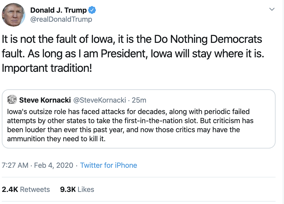 Screen-Shot-2020-02-04-at-7.40.58-AM Scared Trump Rage-Tweets About Iowa Caucus Results Donald Trump Election 2020 Featured Politics Top Stories