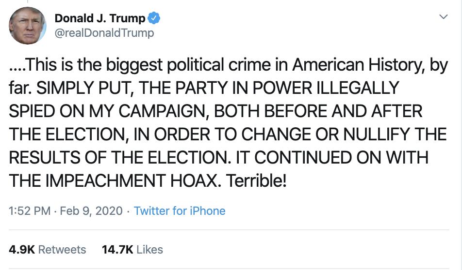 Screen-Shot-2020-02-09-at-2.17.53-PM Trump Snaps & Flies Into Paranoid Sunday Conniption Fit Corruption Donald Trump Featured Politics Top Stories