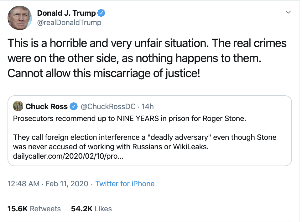 Screen-Shot-2020-02-11-at-8.03.15-AM Trump's Fear Of Prison Revealed In Tuesday Tweet-Rant Corruption Donald Trump Featured Politics Top Stories
