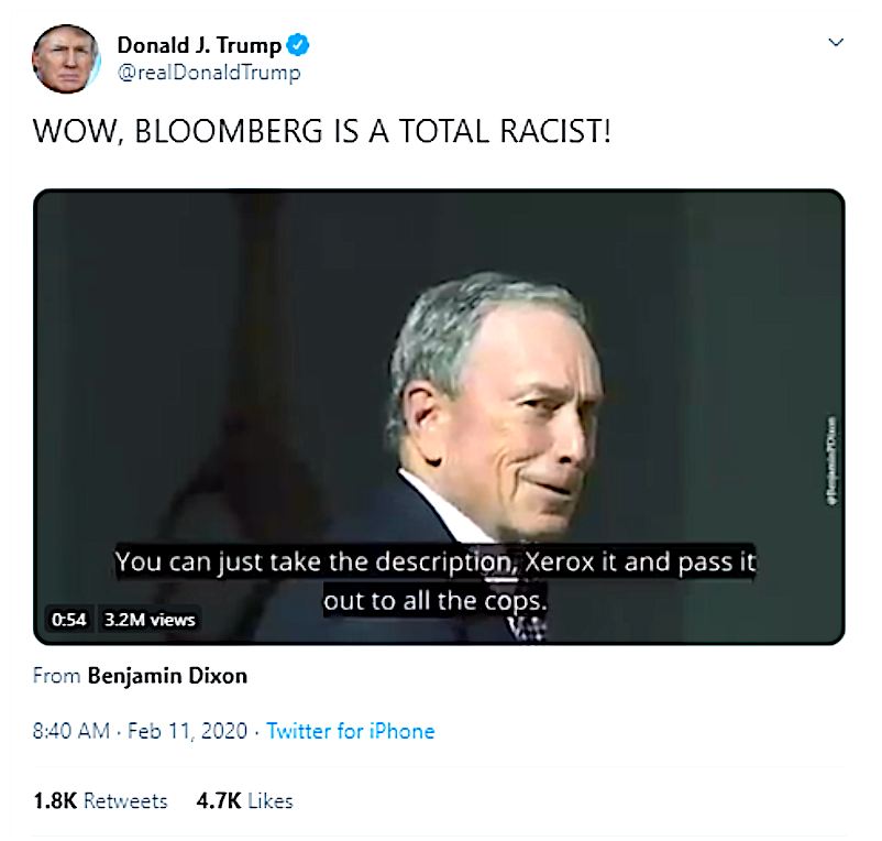 Screen-Shot-2020-02-11-at-8.42.26-AM Trump Quickly Deletes Tweet Attacking Bloomberg Donald Trump Election 2020 Featured Politics Top Stories