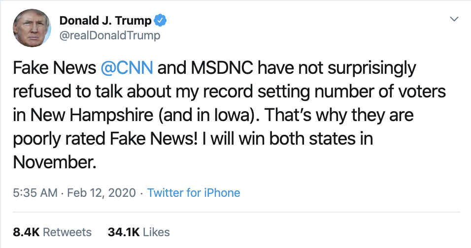 Screen-Shot-2020-02-12-at-7.17.01-AM Trump Wakes Up & Has Rage Tweet Filled Mental Collapse Corruption Donald Trump Featured Politics Top Stories