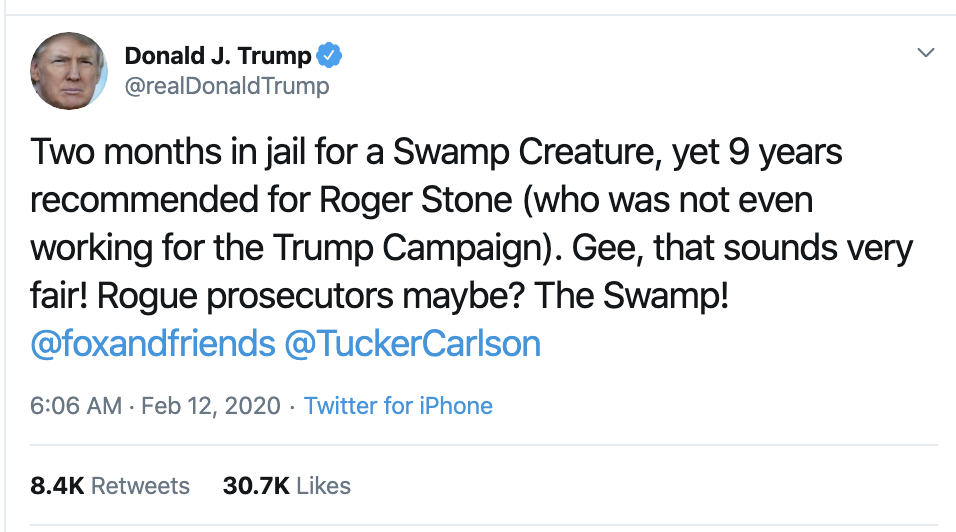 Screen-Shot-2020-02-12-at-7.38.39-AM Trump Wakes Up & Has Rage Tweet Filled Mental Collapse Corruption Donald Trump Featured Politics Top Stories
